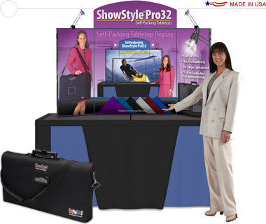 ShowStyle® Pro32 Briefcase Display w/ Full Graphics, 2 Lights & Carry Bag
