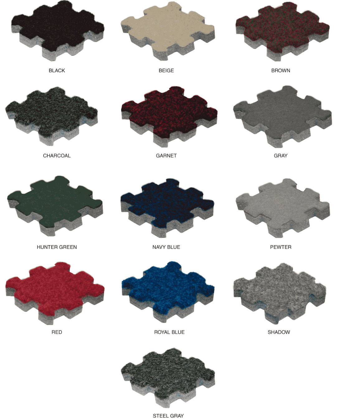 Available colors for Comfort Carpet Plus™ Interlocking Carpet Tiles