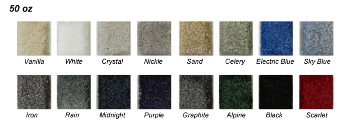 Available colors for Showstyle Plus™ Carpeting