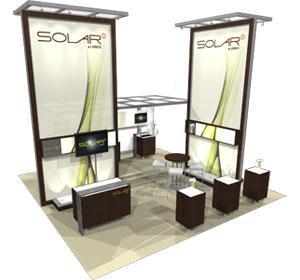Solar A™ • 20′ × 20′ Island Trade Show Exhibit