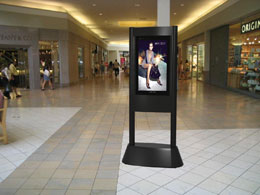 Globotech dBs™ Digital Banner Stand in a mall interior