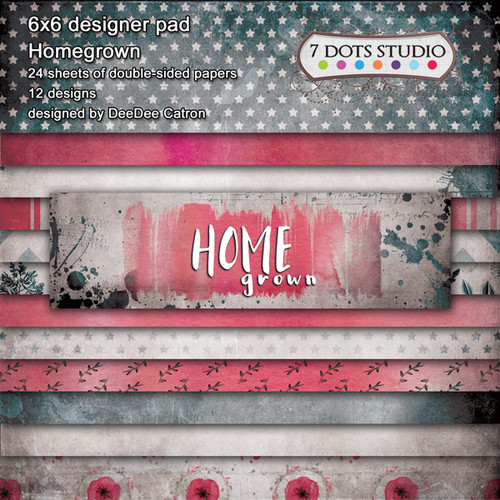 7 Dots Studio, Homegrown Collection, designer pad, 6 x 6, 24 sheets, double sided, Scrapify, Australia