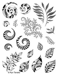Designs by Ryn Rubber Art Stamps, Unmounted stamp, Spirals and Leaves, Scrapify, Australia