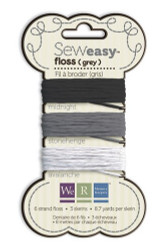 We R Memory Keepers Sew Easy Solid 6-Strand Floss 8.7yd 3/Pkg Black, White & Gray, Scrapify, Australia