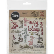 Sizzix Thinlits Dies By Tim Holtz - Holiday Words - Script #2 (16 pieces)