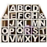 """Prima Marketing Laser-Cut Wood Alphas In A Shaped Box - House With 1"""" Letters & Shapes 168/Pkg, Scrapify, Australia"""