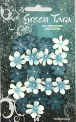 Green Tara, Mini Flowers, Teal, 20pk, Scrapify, Australia