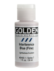 Golden, Fluid Acrylics, Artist Quality, Interference Blue (Fine)  2465, 1 fl.oz, Scrapify, Australia