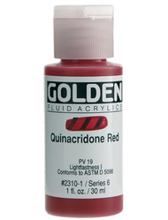 Golden, Fluid Acrylics, Artist Quality, Quinacridone Red #2310, 1 fl.oz, Scrapify, Australia