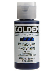 Golden, Fluid Acrylics, Artist Quality, Phthalo Blue (Red Shade) #2260, 1 fl.oz, Scrapify, Australia