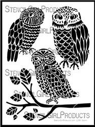 Three Owls and a Branch Stencil Designed by Jessica Sporn for Stencil Girl