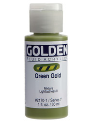 Golden, Fluid Acrylics, Artist Quality, Green Gold 2170,1 fl.oz, Scrapify, Australia