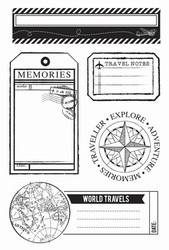 """Kaisercraft, Clear Stamps, Now Boarding, 5 Pieces, 6"""" x 4"""", Scrapify, Australia"""
