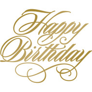 COUTURE CREATIONS, GoPress and Foil, Anna Griffin Foil Stamp Die, 63.7 x 51.1 mm, Happy Birthday, Scrapify, Australia