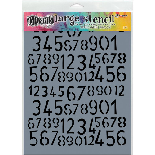 """Dyan Reaveley's Dylusions Stencils 9""""X12"""", Old School Numbers, large, Scrapify, Australia"""