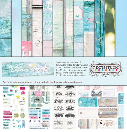 7 Dots Studio, Verano Azul Collection, Collection Kit, 12 x 12, inc Word & Element Stickers + Die Cut Elements Sheets, Scrapify, Australia