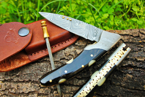 "DKC-133-W BLACK JACK Damascus 4.75' Folded 7.75"" Open 6.1 oz Pocket Folding Knife DKC Knives TM Hand Made Incredible Look and Feel"