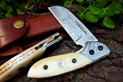 "DKC-113 DUST BOWL Damascus 4.5' Folded 7.25"" Open 6.5 oz Pocket Folding Knife DKC Knives TM Hand Made Incredible Look and Feel"