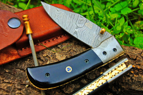"""DKC-122 NIGHT RIDER Damascus 4.5' Folded 8"""" Open 7 oz Pocket Folding Knife DKC Knives TM Hand Made Incredible Look and Feel"""