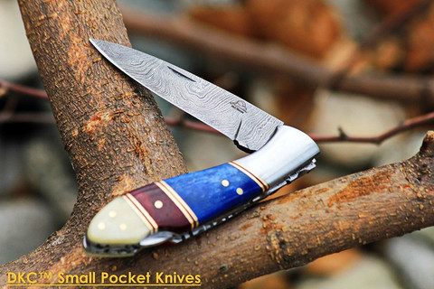 "DKC-58-LG LITTLE JAY Damascus Folding Pocket Knife 4"" Folded 7"" Long 4.7oz oz"