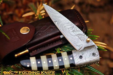 """DKC-105 BUMBLE BEE Damascus Folding Pocket Knife 4.5"""" Folded 8"""" Long 7.2oz oz"""