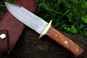 "DKC-517 MERLIN Damascus Bowie Hunting Handmade Knife Fixed Blade 12.5 oz 10.5"" Long"