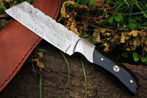 "DKC-525 TANTO EARTH Damascus Hunting Knife 8.5"" Long 8.5 oz ! Black Bone Handle 4"" Blade"