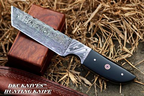 "DKC-524 TANTO SKY Damascus Hunting Knife 9"" Long 10 oz ! Black Micarta Handle 4.5"" Blade"