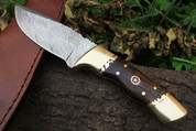 """DKC-523 GOLD FINCH Damascus Tanto Bowie Hunting Handmade Knife Fixed Blade 9.3oz oz 8 """"Long"""