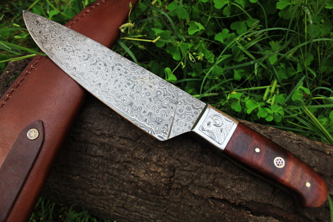 DKC-198 ZEN CHEF MASTER Damascus Chef Kitchen Knife Tanto Bowie Hunting Handmade Knife Fixed Blade 12.4 oz 12 Inches Long
