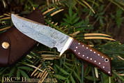 "DKC-500 COUGAR Damascus Hunting Knife 9"" Long, 4"" Blade 7.4 oz ! Dark Walnut Burlwood"