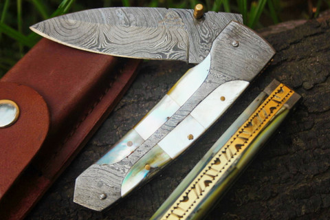 "DKC-161 GANDOLF Damascus Pearl Shell Folding Pocket Knife 4.5"" Folded 8"" Open 9oz 3"" Blade High Class Looks Incredible Feels Great In Your Hand And Pocket Black Buffalo Horn, Damascus Bolster Very Solid High Quality Knife DKC Knives TM"