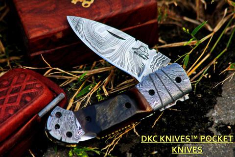 DKC-726 CLINT Damascus Folding Pocket Knife