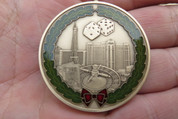 "DKC-1601-B Las Vegas Christmas Ornament Custom Hand Engraved Minted In Antique Brass 1.75"" Diameter 1.8 oz  MINT SERIES"