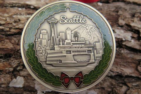 "DKC-1600-B SEATTLE Christmas Ornament Custom Hand Engraved Minted In Antique Brass 1.75"" Diameter 1.8 oz   MINT SERIES"