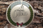 DKC-1500-B OLIVIA Christmas Ornament Custom Hand Engraved Minted In Antique Brass
