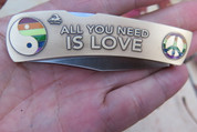"DKC-1101-B ALL YOU NEED IS LOVE Knife Custom Engraved Hand Painted Enamel Minted In Antique Brass 4.5 oz 6.75"" Long Open 2 7/8"" Blade 4"" Closed MINT SERIES"