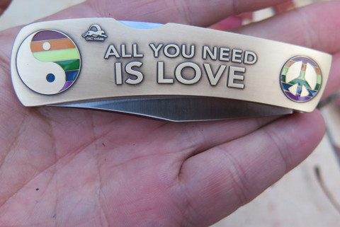 """DKC-1101-B ALL YOU NEED IS LOVE Knife Custom Engraved Hand Painted Enamel Minted In Antique Brass 4.5 oz 6.75"""" Long Open 2 7/8"""" Blade 4"""" Closed MINT SERIES"""
