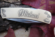 DKC-1000-B MICHAEL Personalized Name Knife Custom Hand Engraved Minted In Antique Brass