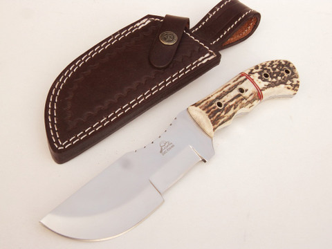 """DKC-708-440C STAG TRACKER Stag Horn Stainless Steel Survival Prepper Hunting Knife 10"""" Long, 5"""" Blade 11ozl DKC Knives TM Very Solid Knife"""