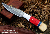 DKC-720 RED BIRD Damascus Steel Hunting Handmade Knife Fixed Blade (DKC-720-DS)