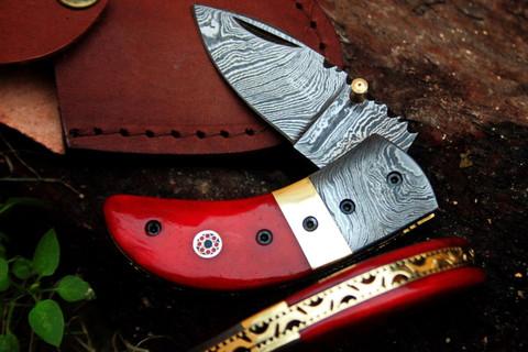 DKC-43-RD Red Thumb Damascus Steel Blade Pocket Folding Knife