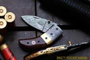 DKC-43-BR Brown Thumb Damascus Steel Pocket Folding Knife