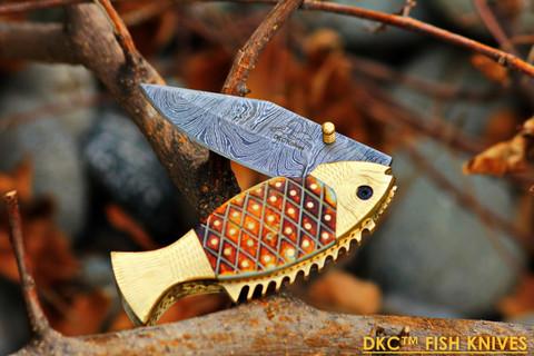 "DKC-593 SUN FISH Mouth Open Bass Trout Fishing Pocket Folding Damascus Hunting Knife Brass & Bone Folded 9.5oz 4.5"" Closed 7.5"" Open 3.5"" Blade DKC Knives FISHANA SERIES"