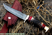 "DKC-717 BALD EAGLE Damascus Bowie Hunting Handmade Knife Stag Horn Fixed Blade 9.8oz 10 "" Long 5"" Blade"