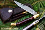 "DKC-62-SW SNAKE PRINCE Laguiole Damascus Steel Folding Pocket Knife Snake Woodl 4"" Folded 7.25"" Open 3oz 3.75"" Blade"