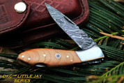 "DKC-58-LJ-CC LITTLE JAY Series CURLY CHERRY HANDLE Damascus Folding Pocket Knife 4"" Folded 7"" Approx 3.25""Blade a Long 4.7oz oz"