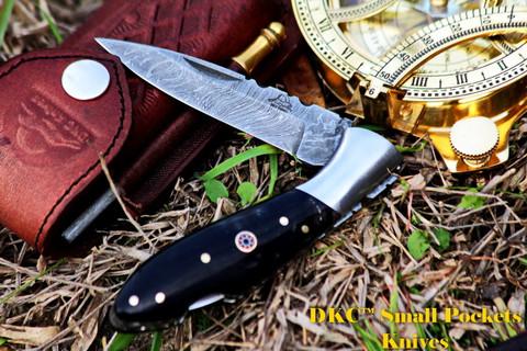 "DKC-58-LJ-BH LITTLE JAY Series BUFFALO HORN  HANDLE Damascus Folding Pocket Knife 4"" Folded 7"" Approx 3.25""Blade a Long 4.7oz oz"