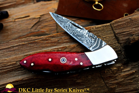 "DKC-58-LJ-RB-DS LITTLE JAY Series  RED BONE  HANDLE Damascus Folding Pocket Knife 4"" Folded 7"" Approx 3.25""Blade a Long 4.7oz oz"