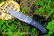 "DKC-904 MONTALGO Damascus Steel Hand Made Hunting Knife DKC Knives (TM) 6.9 oz 8"" Open 4"" Blade"